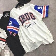 Harajuku Long T-Shirt Loose Letter Printed Women Tshirt Female Tee Tops Large Size Summer T-Shirts