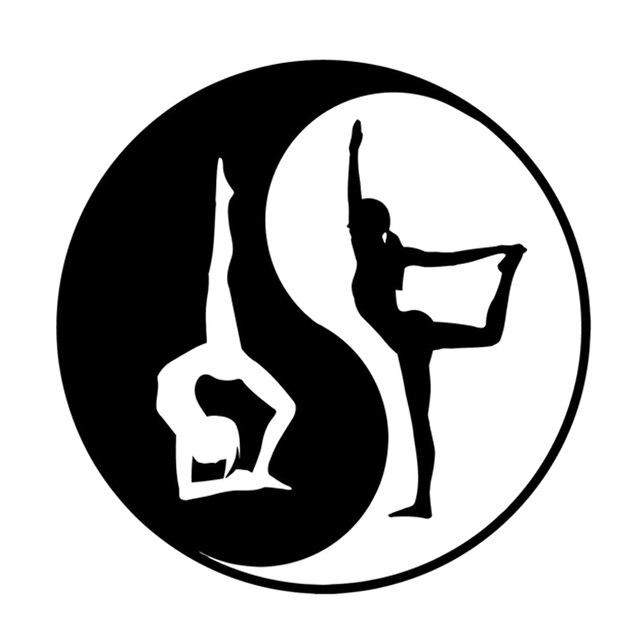 14cm14cm Creative Girls Sport Yang Yoga Health Symbol Car Sticker