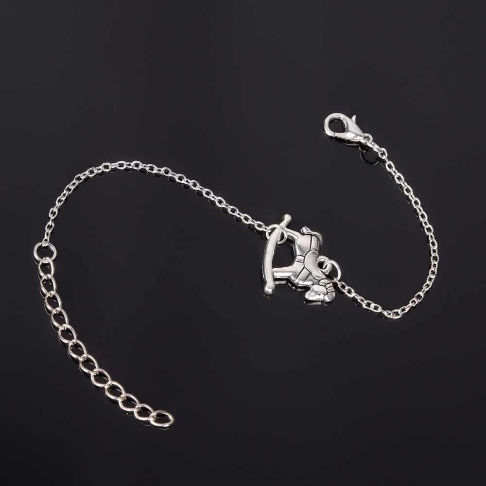 Srebrna kolorowa bransoletka, srebrny modny wisiorek bransoletka łańcuch bransoletka dla kobiet mężczyzn prezent NS210