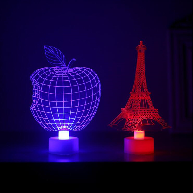 Colorful Changeable 3d Led Lamp Cartoon Eiffel Tower Fairy