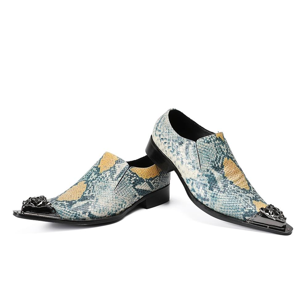 Chaussures Pic Hombre Pointu Imprimer Formelle Robe Parti Bout Zapatos Métal Hommes Déification Grande Plus Serpent En Taille Élégant As Vestir Hommes 0FxPwR