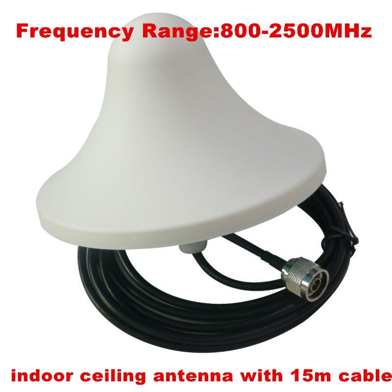 Antenne interne omnidirectionnelle 800-2500 MHz avec connecteur mâle N avec câble 15 m pour amplificateur de signal de téléphone portable gsm 3g cdma dcs