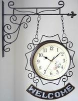 Watches Decoration Art Quartz Mediterranean Garden Style Double Bell Welcome Iron Double Wall Clock Movement Watch