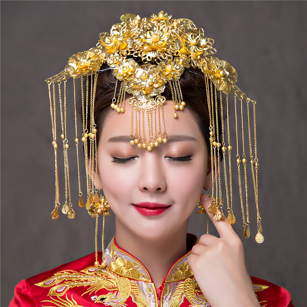 vintage chinese wedding hair accessories costume brides hair crown bridal gold color coronet tassel hairpins earrings tiaras-in hair jewelry from