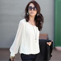 Womens Tops Fashion 2016 Chiffon White Black Blouse Vintage Women Shirts Loose Plus Size Woman