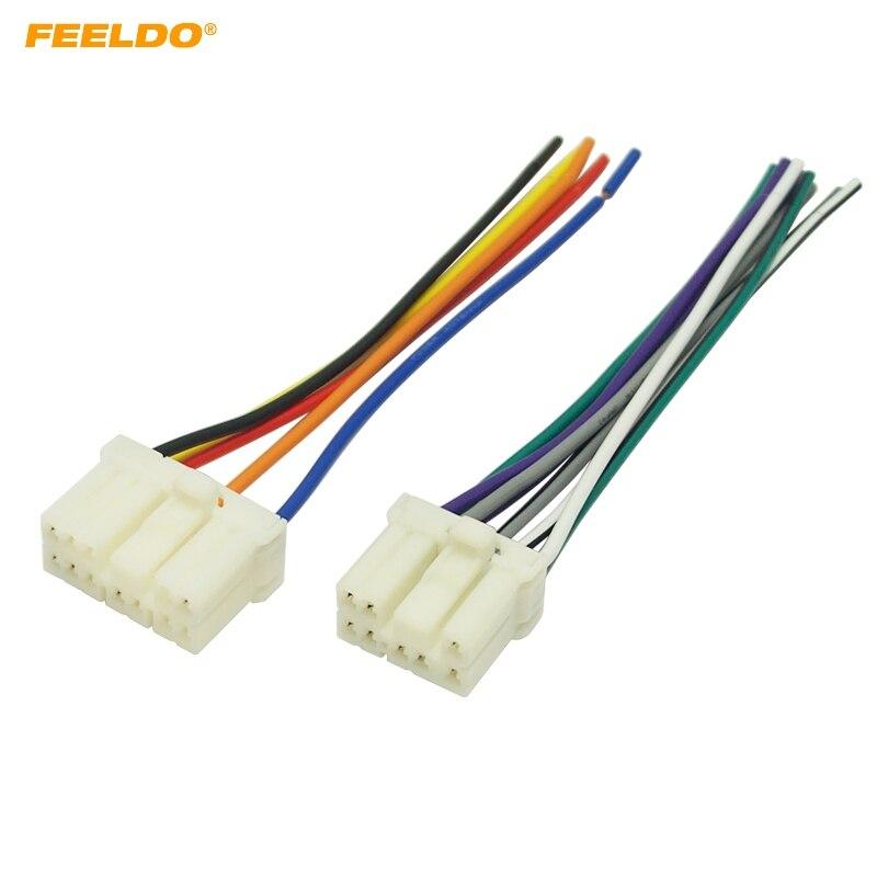 Feeldo 6pair Car Radio Audio Wire Harness Aapter Male Plug