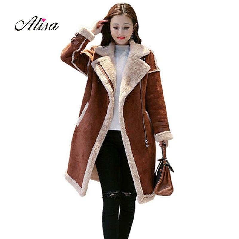 New 2018 Motorcycle Woman   Suede   Jacket Autumn Winter Thick Faux Lambs Wool Coat Ladies Long Sleeved Slim Medium Long Jackets