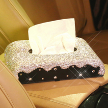 Бумага Полотенца коробка-держатель для салфеток ткани чехол Bling, со стразами и кристаллами блок Тип ручной работы с одноразовыми салфетками