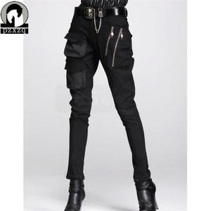 Image 1 - Fashionable Womens European Style Harem Pants Black Pencil Pants 100% High quality Elastic Waist Stretchable Material 2020