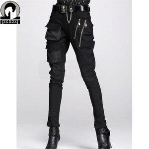 Image 1 - แฟชั่นผู้หญิงยุโรปสไตล์Haremกางเกงกางเกงดินสอสีดำ100% คุณภาพสูงยืดหยุ่นเอวยืดวัสดุ2020