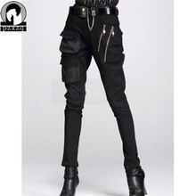 Moda kadın avrupa tarzı Harem pantolon siyah kalem pantolon 100% yüksek kaliteli elastik bel gerilebilir malzeme 2020