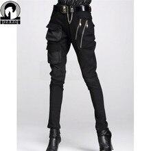 Pantalones harén de estilo europeo para mujer, pantalón lápiz negro, 100%, Cintura elástica de alta calidad, Material estirable, 2020