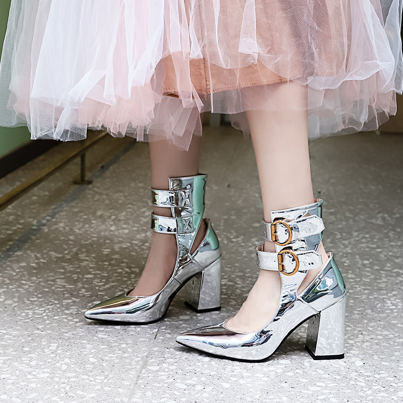 Botte Chevalier Talons Dame Pointu Stylesowner En Mode Femmes Verni Profond De Chaussures À Peu Bottes Mariée Boucle Cuir Bottines Argent Bout gRSw6qvRHf