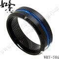 NEW Mens Black and Brush Tungsten Carbide Ring Bevel Edges Blue Groove Center Finger Ring 8mm