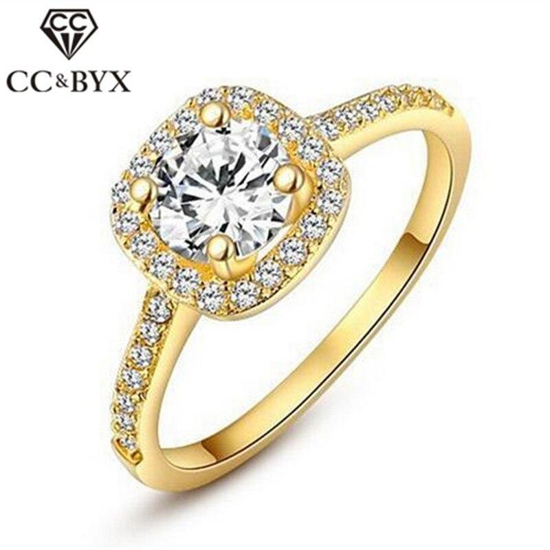 CC Ювелирные Модные кольца для женщин ювелирные изделия роскошный золотой цвет квадратный камень кольцо обручальное Украшение свадебное ко...