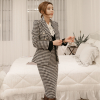 new fashion temperament comfortable warm plaid suit and simple slim skirt wild work style high quality outdoor trend skirt suits
