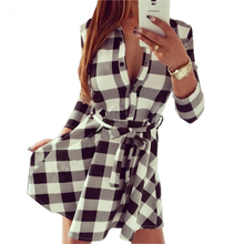 2017 High Auality Plaid Casual Dresses Women's Spring Summer Dress Long Sleeve Turn Down Collar Dress With Belt Plus size