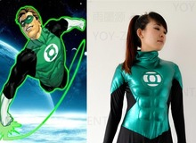 Movie Coser-5 High Quality Rubber Coating With Muscle Super Hero Captain Green Lantern Cosplay Costume Suit