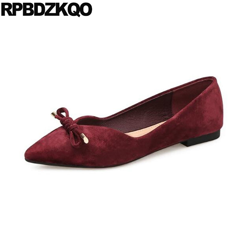 c53bdef3fb00 Pointed Toe Knot Ladies Wide Fit Velvet Chinese Bow Women Flats Shoes With  Little Cute Bowtie Dress Suede China Kawaii Red Wine