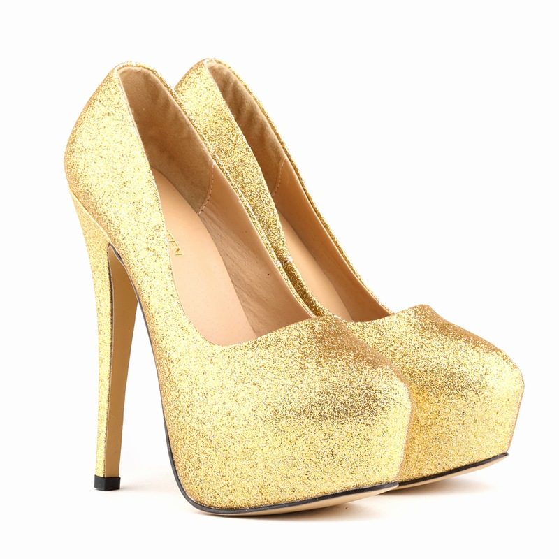2017 new super high thin heel women bridal wedding gold shoes ladies sexy  dinner party flash sequins bling platform silver pumps c8fd03763