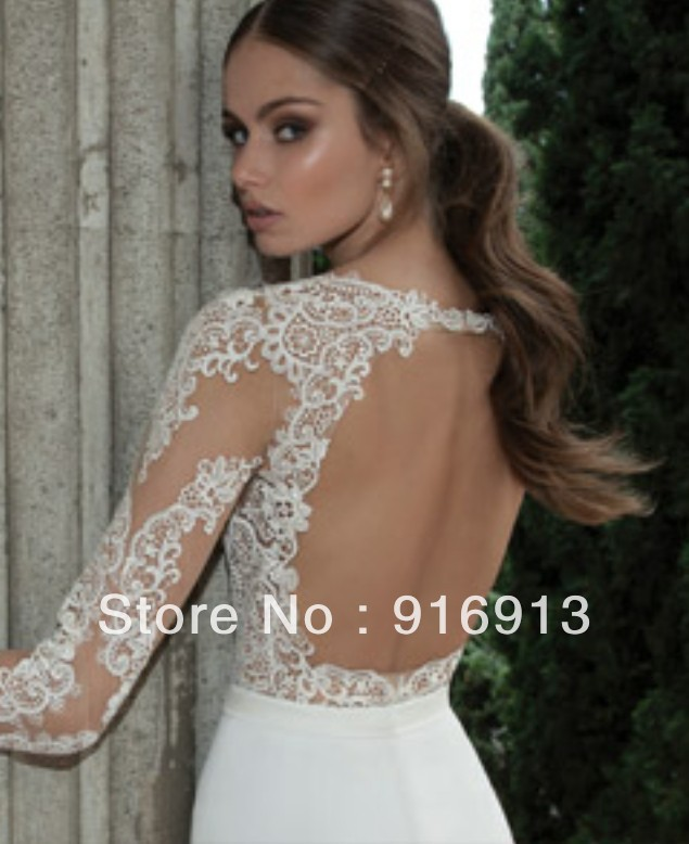 cf3c7713cebe Sexy Illusion Jewel Neck Applique Backless Berta Bridal Long Sleeve Sheath  Wedding Dresses Floor Length Bridal Gowns open back -in Wedding Dresses  from ...