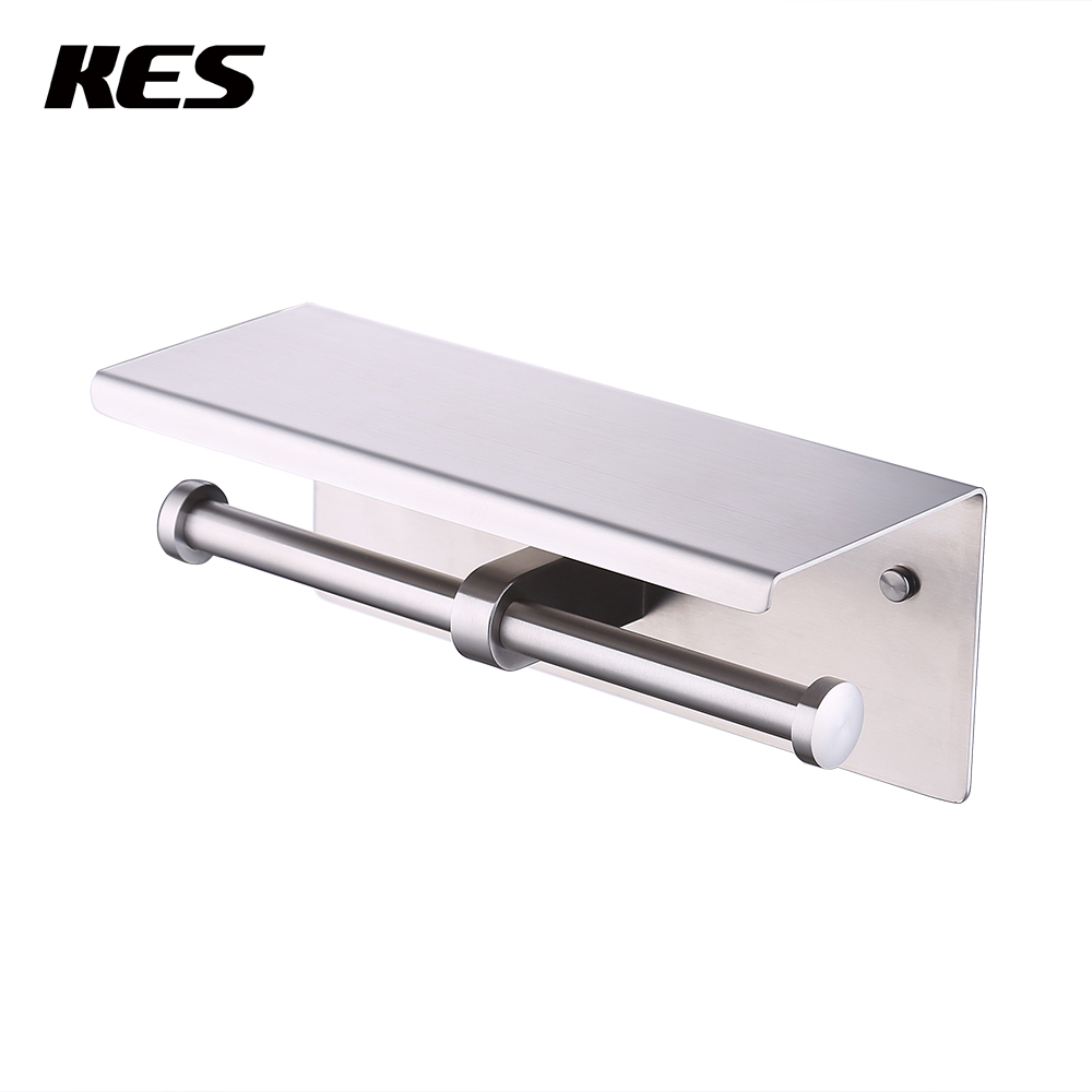 KES Toilet Double Roll Tissue Paper Holder Wall Mount SUS304 Stainless Steel, Chrome/Brushed Finish, BPH201S2 abs plastic toilet paper holder bathroom roll paper holder a variety of colors creative roll tissue box free shipping zwj 005