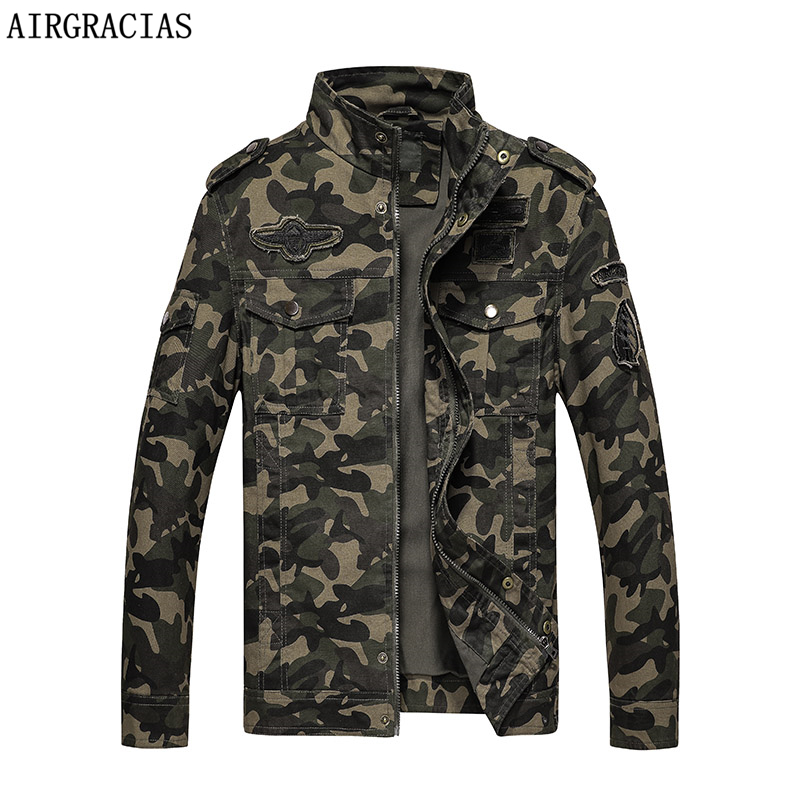 AIRGRACIAS Brand Clothing Autumn Men's Military Camouflage Jacket Army Tactical clothes Multicam Male Camouflage Windbreaker-in Jackets from Men's Clothing    1