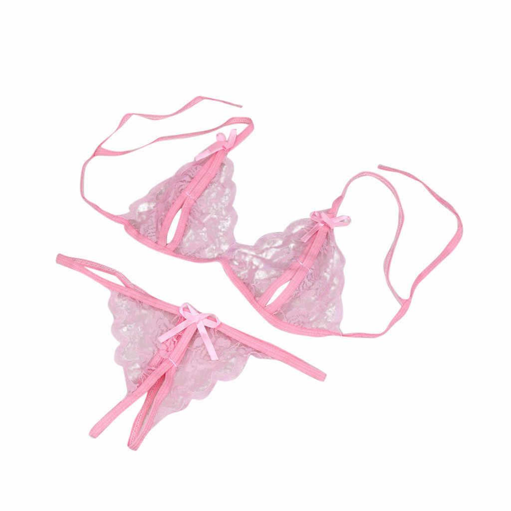 Mulheres Sexy Lingerie de Renda Lingerie Pijamas G-corda Lingerie Sem Costura Low-Rise Cueca Cor Sólida Venda Quente # P5