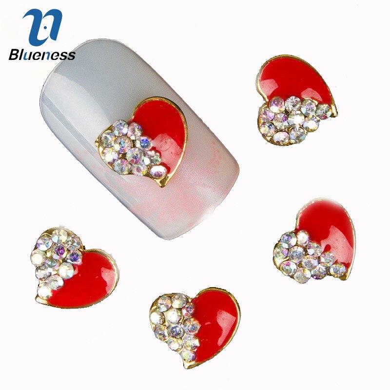 Blueness 10Pcs/lot 3D Nail Alloy Decorations Red Heart Design Glitter Rhinestone Studs Nail Art Accessories Styling Tools TN044