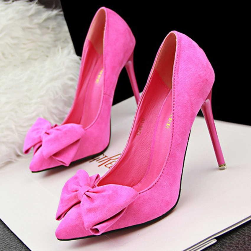 Seksi yüksek topuklu kadın ayakkabı moda papyon kadın pompaları topuklu bayanlar gelin ayakkabıları kadın topuklu bayan ayakkabıları Stiletto AU