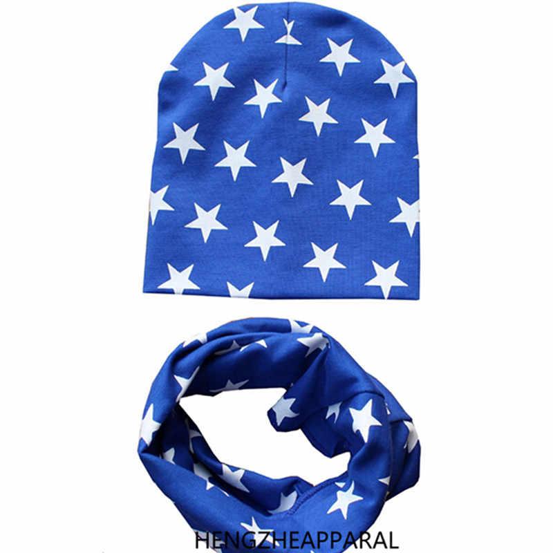 Nova estrela de algodão chapéu + cachecol conjuntos para o bebê sob 3 anos crianças dos desenhos animados coleiras bonés ternos crianças meninos meninas beanies acessórios
