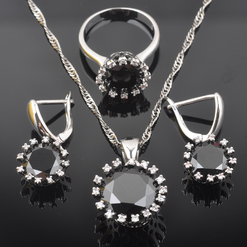 FAHOYO Classic Round Black Zirconia Women's 925 Sterling Silver Jewelry Sets Earrings/Pendant/Necklace/Rings QZ0528