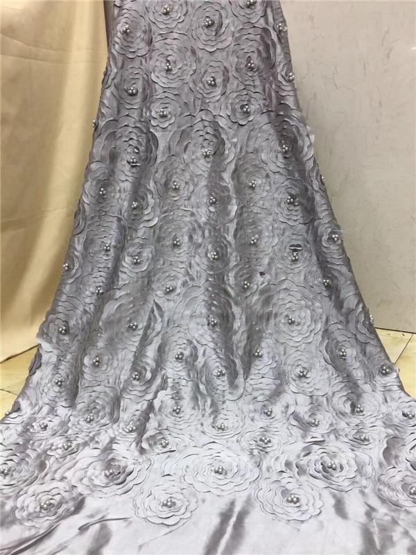 Blanc nigérian français dentelle tissus 2019 africain Tulle dentelle tissu de haute qualité africaine dentelle mariage tissu pour robe couleur grise-in Dentelle from Maison & Animalerie    1