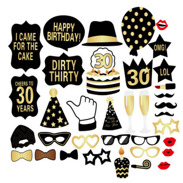 US $6 86 |Photo Booth Props 30th Birthday Props Man Woman Thirtieth  Birthday Dirty Thirty Party 30th Photobooth Props Big Adult Size 36PCS-in