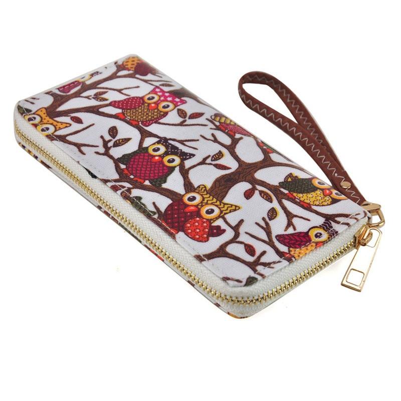 Women Cute Owl Printing Wallet Ladies Clutches Card Holder Handbag Long Design Lovely Card Wallet Handbag Phone Bag For Women