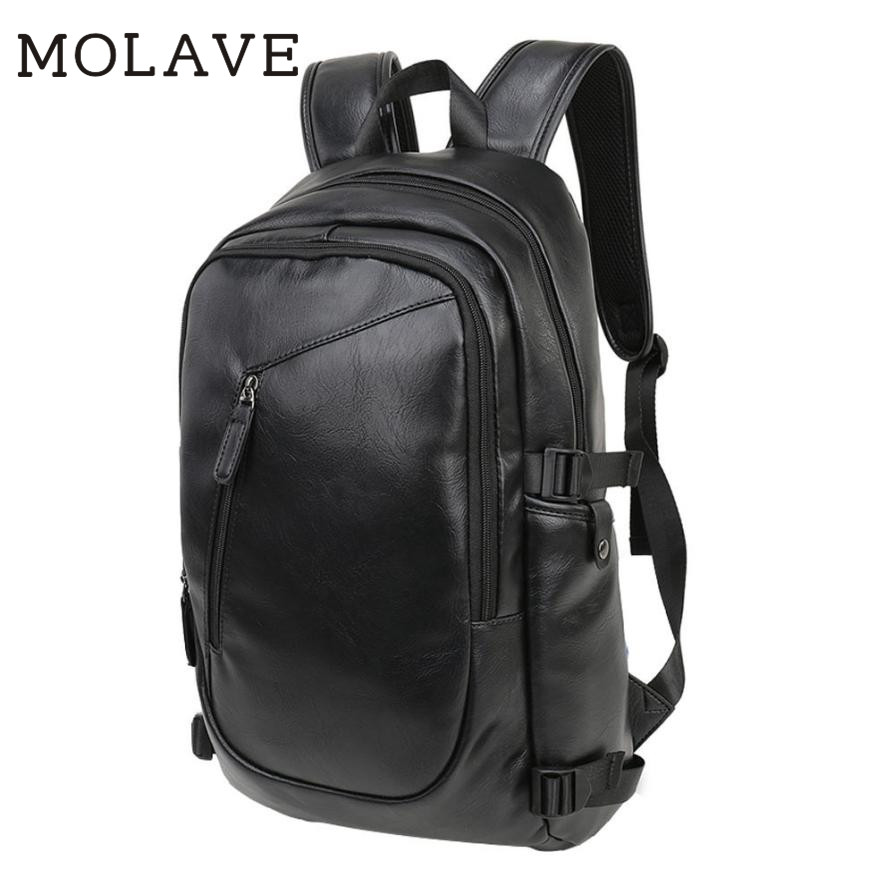 MOLAVE Backpacsk backpack men Solid backpack male Zipper pu leather laptop bags male high quality black soft Backpacks Jan4 male classic microfiber leather backpack