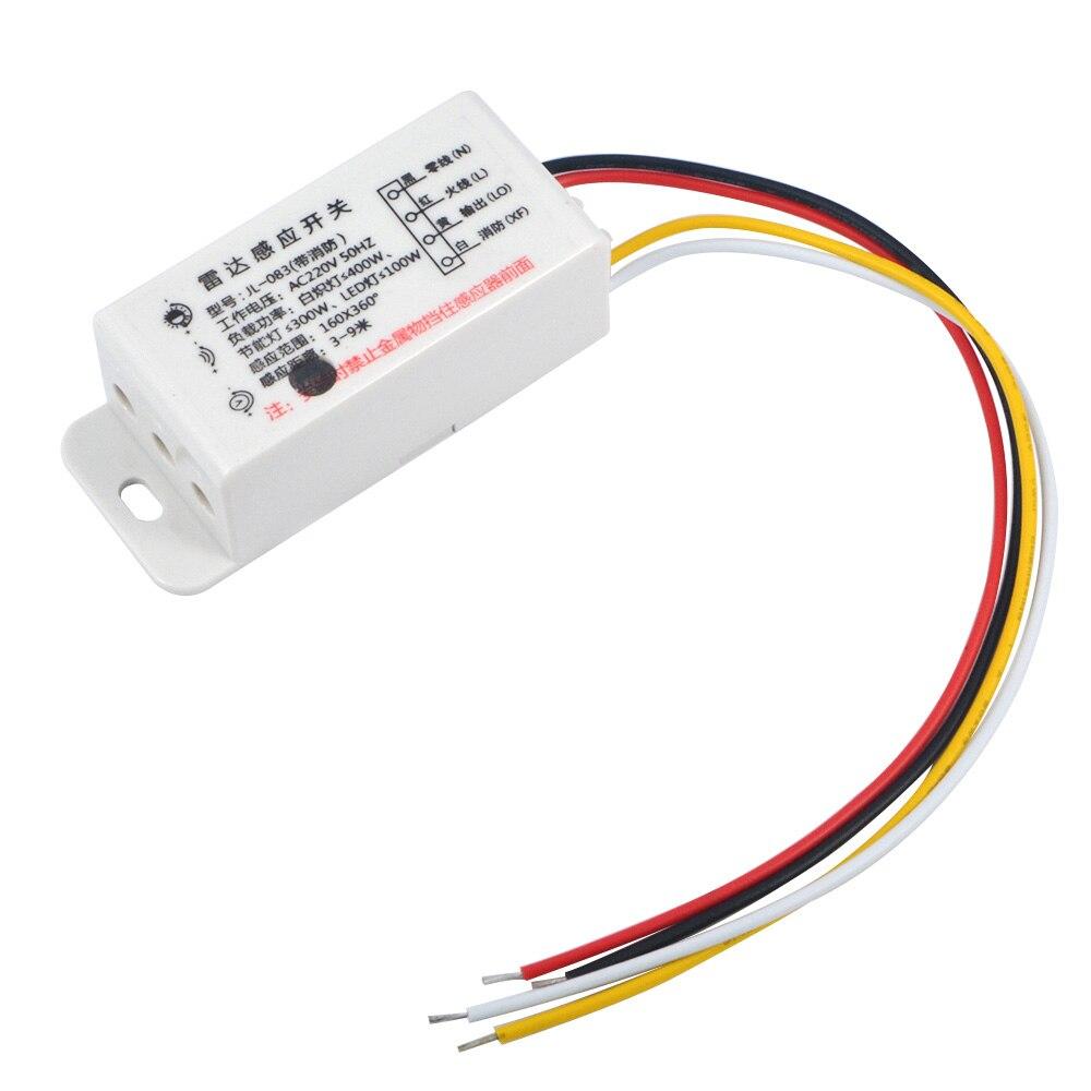 1 PC Nouveau AC220V Commutateur Micro-ondes Radar Corps Capteur Interrupteur de Contrôle Interrupteur Retard Distance Est Réglable Capteurs