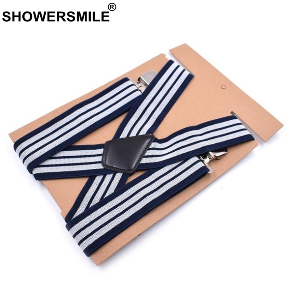 SHOWERSMILE Plus Size Suspenders Men'S Braces Wide 5cm Navy Striped 125cm Big Strap Suspenders Man For Pants Finger 4 Clips