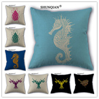 WZ419(6) Hot Sale Animal Pattern Logo Cotton Linen Pillow Case For Wedding Decorative Square 18x18 inches Pillow Cover