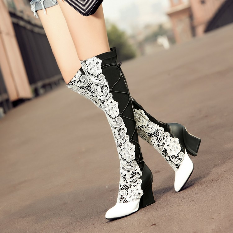 Compare Prices on White Leather Thigh High Boots- Online Shopping ...