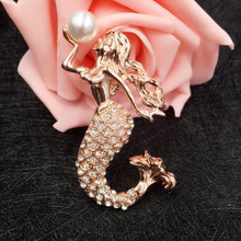 Elegant Rhinestone Mermaid Brooch for Women Girls Fashion Scarf Simulated Pearl Brooches Pins Accessories Jewelry Gift