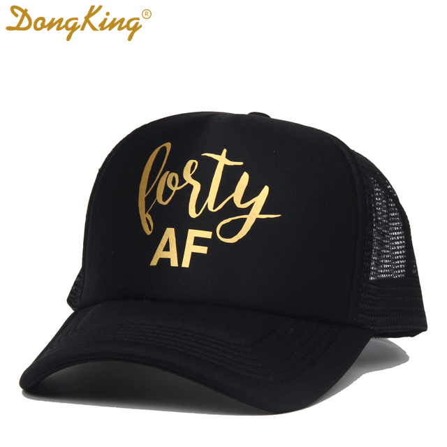 DongKing Forty Trucker Hats 40th Birthday Hat 40 Years Old Birthday Party  Caps Sex Women 40th Gift Golden Printed SQUAD Caps f7e935b3703