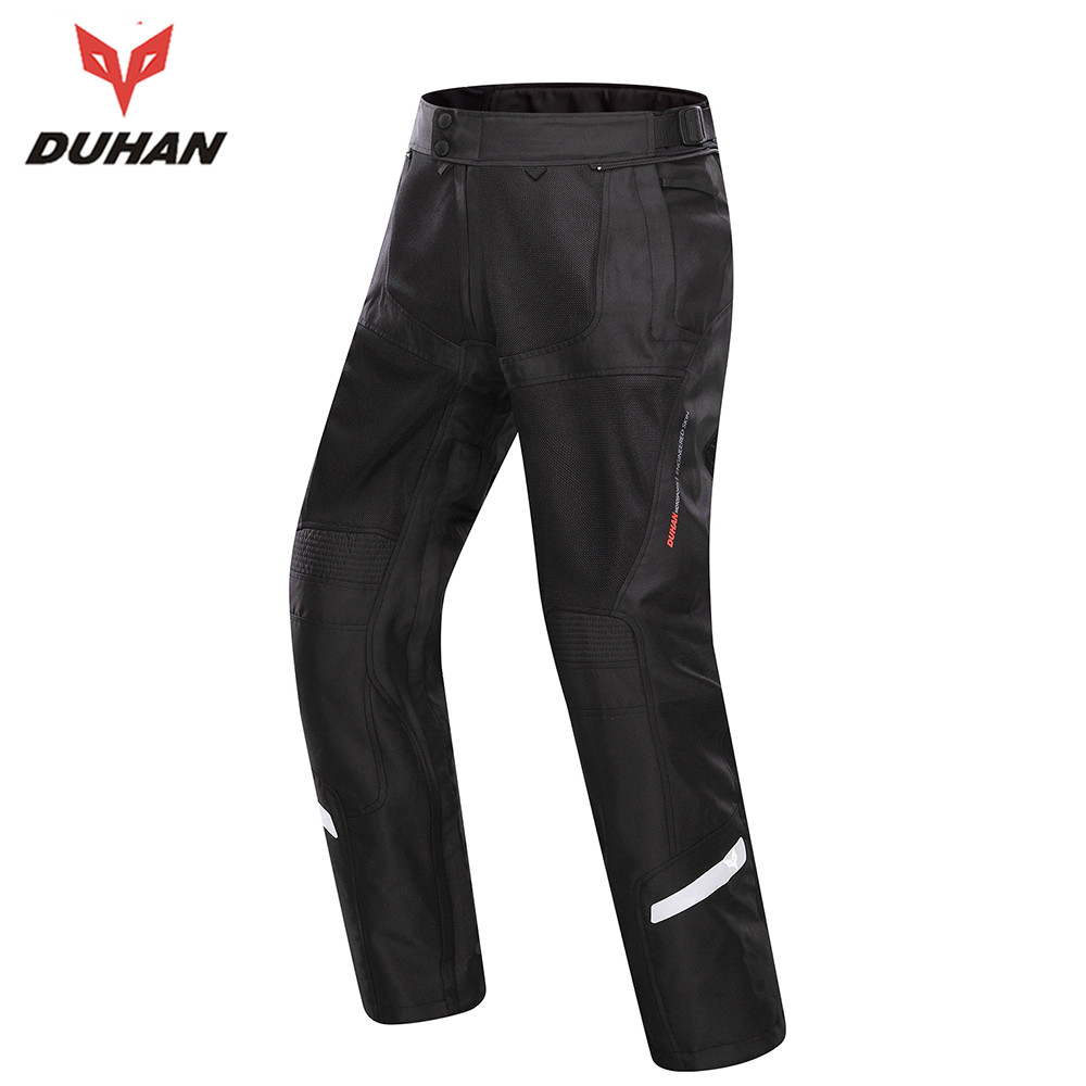 DUHAN Breathable Motorcycle Racing Pants Off-Road Knee Protective Moto Pants Summer Men Black Casual Pants