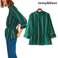 Jenny Dave Blouse Women England Style Kimono Green Striped Collect Waist Shirt Blusas Women Plus Size