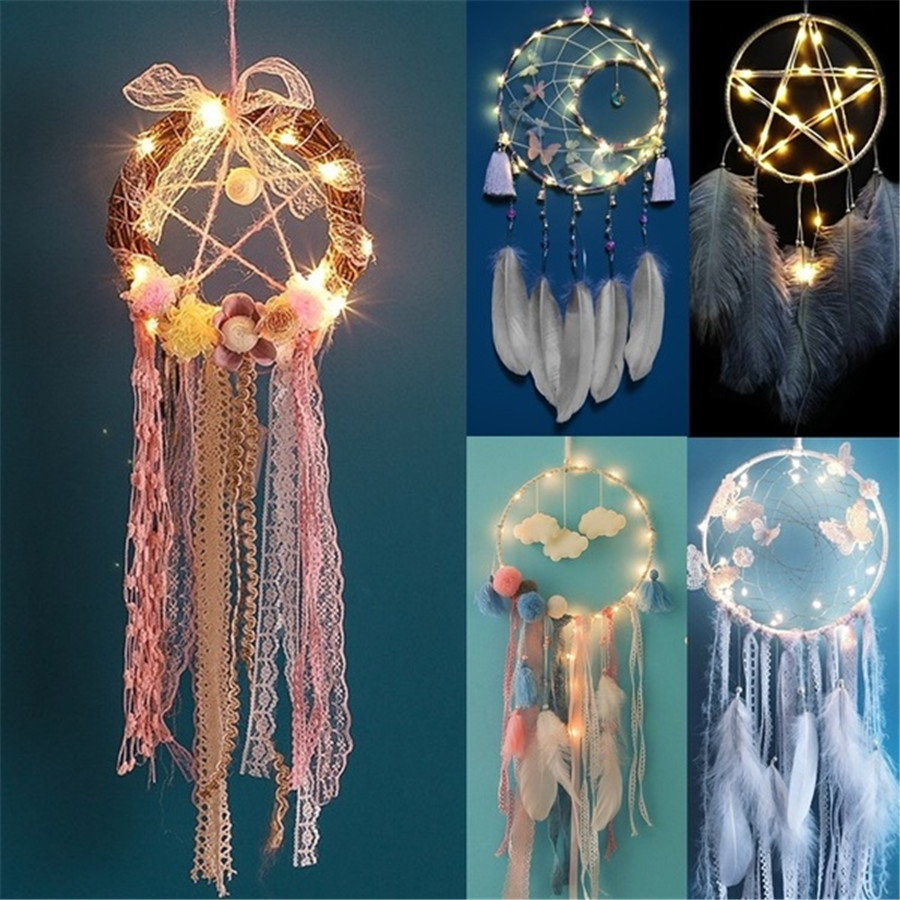 LED Lighting Dream Catcher Girls Dreamlike Feather Bedroom Romantic Dreamcatcher Home Bedside Wall Hanging Party Wedding Decors