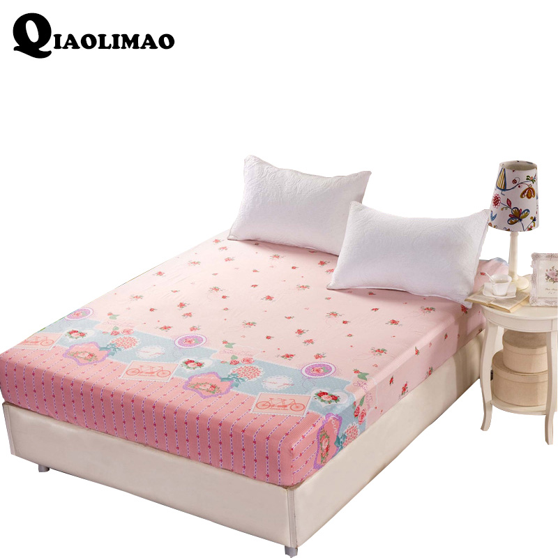 New 100% Cotton Fitted Sheet Plant Flowers With Protection Pad Mattress Protector Sheet 120*200cm/150*200cm/180*200cm Bed Sheets