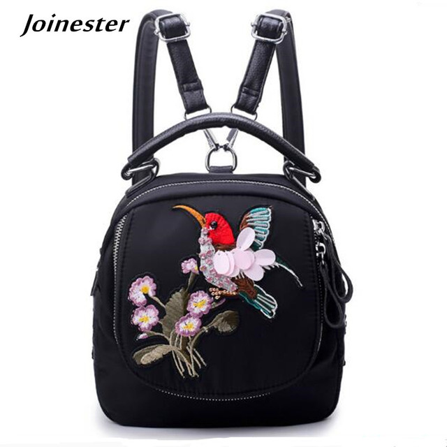 bb89bf7fc8d7 Small Lightweight Waterproof Nylon Backpack for Women Vintage Casual Daypack  Durable Animal Embroidery Top Handle Travel Bag