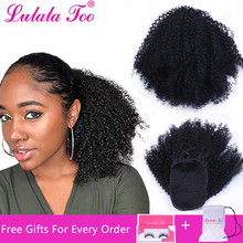 цена на Afro Kinky Curly Drawstring Fake Ponytail Synthetic Hair Bun Chignon Hairpiece For Women Updo Clip in Hair Extension