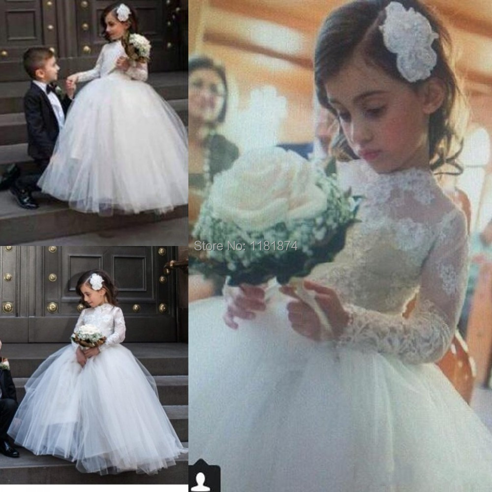 2015 Princess Little Flower Girl Dresses with Sheer Lace Long ...