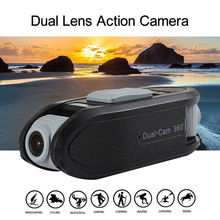 Portable F66 1080P+720P Dual Lens Digital Sport Camera Mini Action Cam Video 140 Degree Lens Angle Novatek 96655 Black